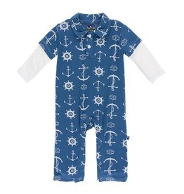 Kickee Pants Print Longsleeve Double Layer Polo Romper in Twilight Anchor