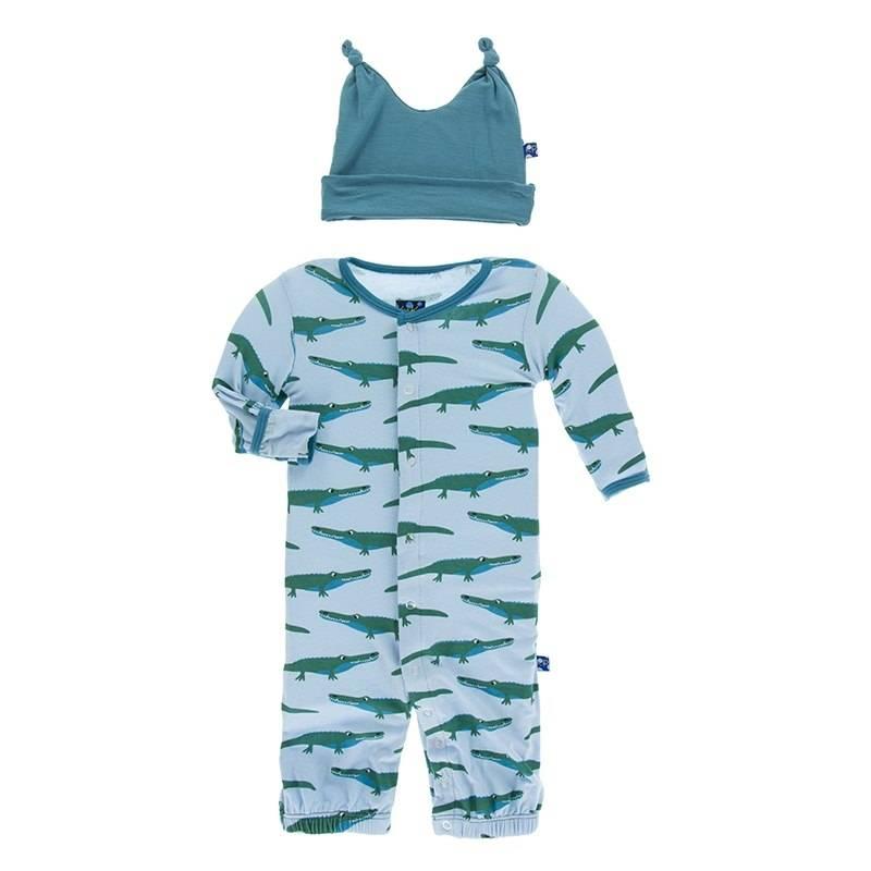 KicKee Pants Kickee Pants Layette Gown Converter & Knot Hat Set in Pond Crocodile