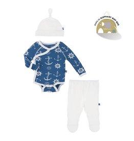 Kickee Pants Newborn Gift Set with Hanger in Twilight Anchor