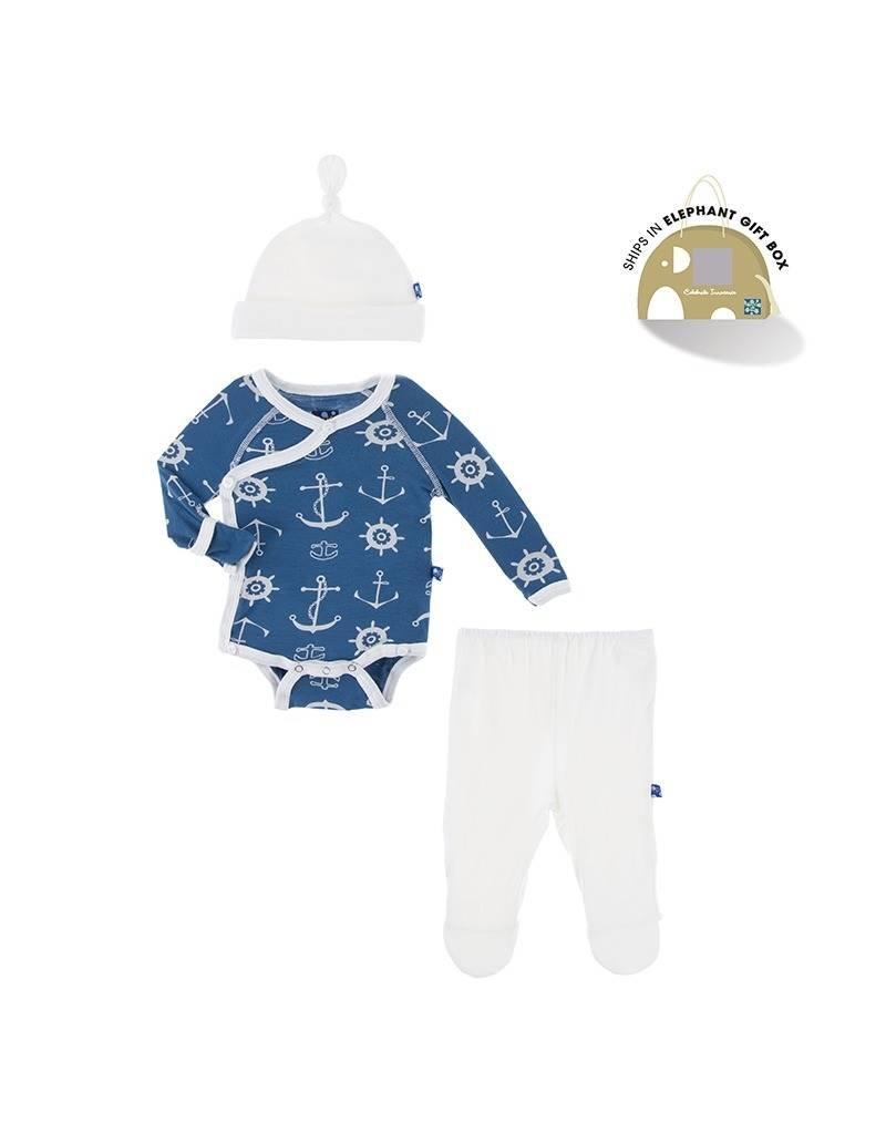 KicKee Pants Kickee Pants Newborn Gift Set with Hanger in Twilight Anchor