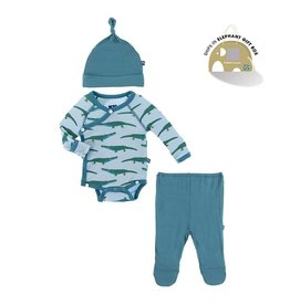 KicKee Pants Kickee Pants Kimono Newborn Gift Set with Hanger in Pond Crocodile