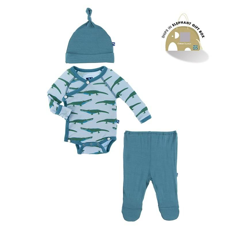 KicKee Pants Kickee Pants Kimono Newborn Gift Set with Hanger in Pond Crocodile