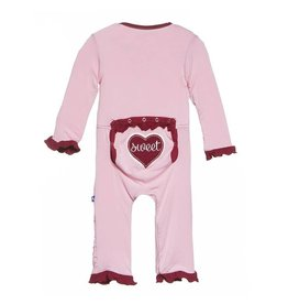 Kickee Pants Holiday Layette Classic Ruffle Applicque Coverall in Lotus Sweet Heart