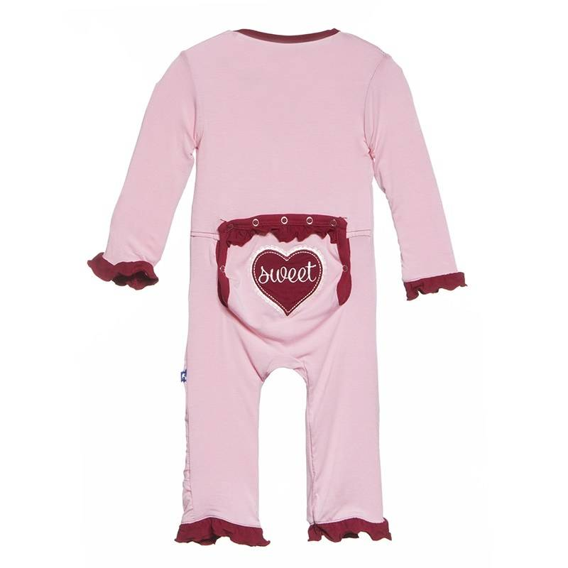 KicKee Pants Kickee Pants Holiday Layette Classic Ruffle Applicque Coverall in Lotus Sweet Heart