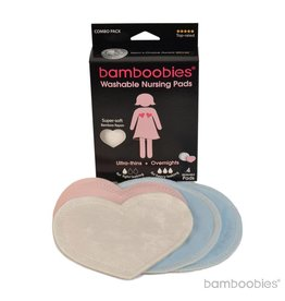 Bamboobies Bamboobies Washable Nursing Pads 2-pair Combo Pack: UltraThin + Overnight