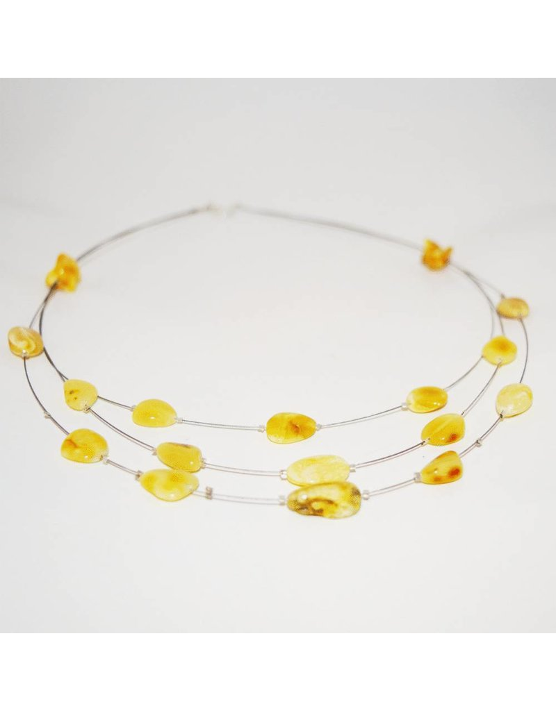 The Amber Monkey Adult Amber Necklace 17-18 in Wire Tiers - Milk Bean