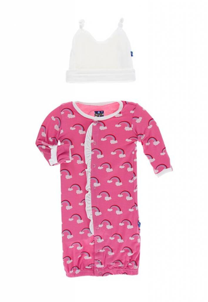 KicKee Pants Kickee Pants Ruffle Layette Gown Converter & Knot Hat Set in Flamingo Rainbow