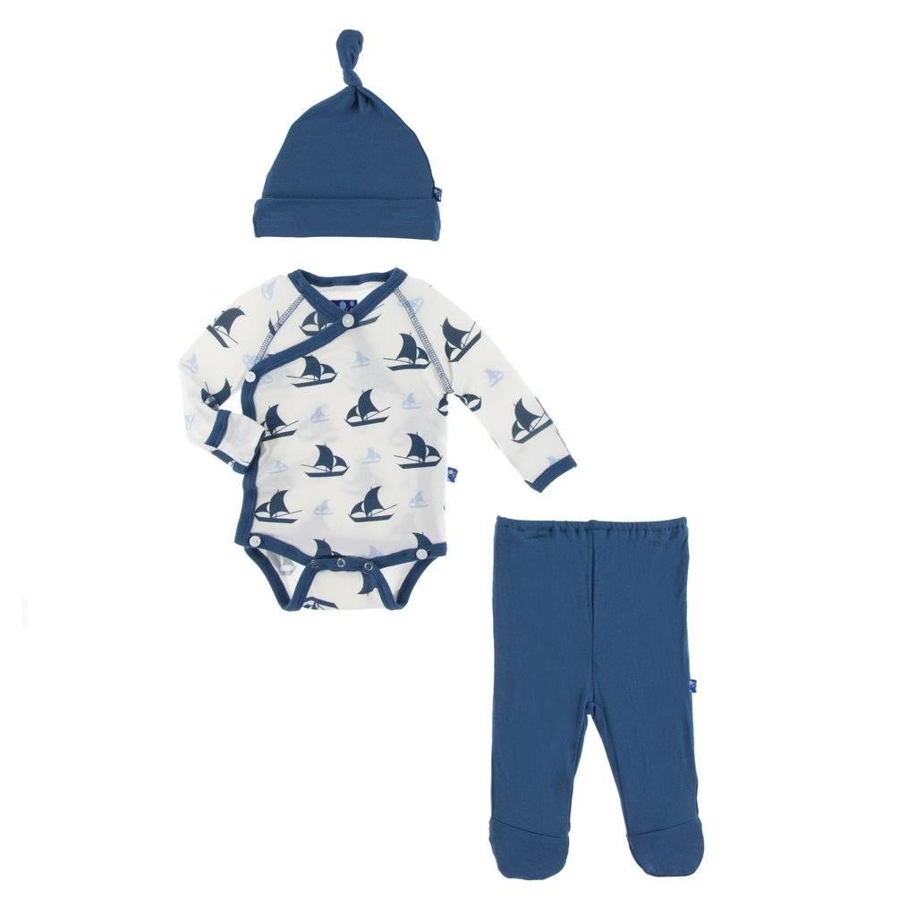 KicKee Pants Kickee Pants Kimono Newborn Gift Set with Elephant Box in Natural Sailboat
