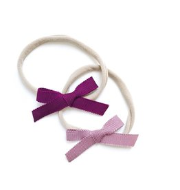 All the Little Bows NB Petersham Ribbon Bows in Berry/Rose - 2pk