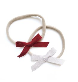 All the Little Bows NB Petersham Ribbon Bows in Red/Blush - 2pk