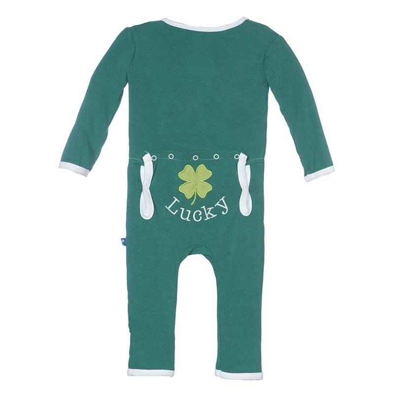 KicKee Pants KicKee Pants Holiday Layette Applique Coverall in Shady Glade/Lucky Clover