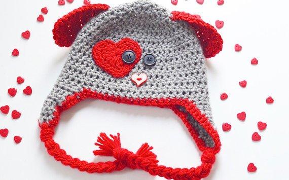 Hand-Knit Puppy Love Caps