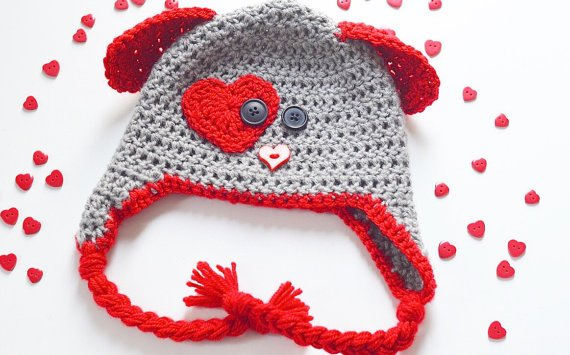 mom-made knit caps Hand-Knit Puppy Love Caps