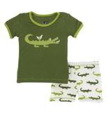 KicKee Pants Kickee Pants Short Sleeve Pajama Set with Shorts in Natural Crocodile