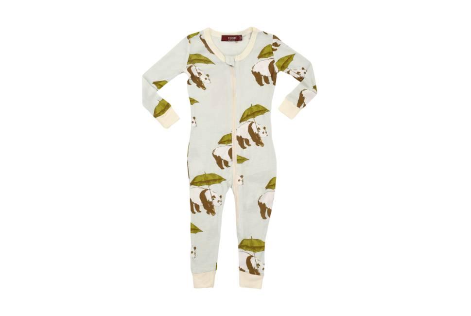 Milkbarn Milkbarn Bamboo Zipper Pajama Blue Panda