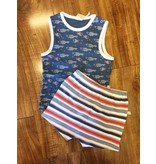 Tiny Twig Tiny Twig Organic Sleeveless Shirt & Shorts Set - Little Fish/Mariner Stripes