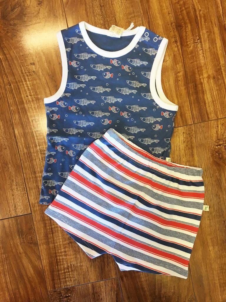Tiny Twig Tiny Twig Organic Sleeveless Shirt & Shorts Set - Little Fish/Mariner Stripes