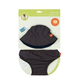LASSIG Sun Hat + Swim Diaper Set - Polka Dots Navy
