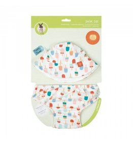 LASSIG Sun Hat + Swim Diaper Set - Ice Cream