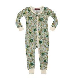 Milkbarn Milkbarn Bamboo Zipper Pajama - Blue Floral