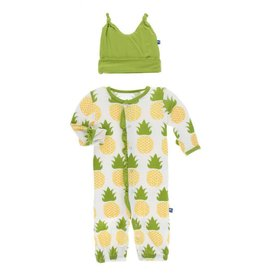 KicKee Pants Kickee Pants Ruffle Layette Gown Converter & Knot Hat Set in Natural Pineapple