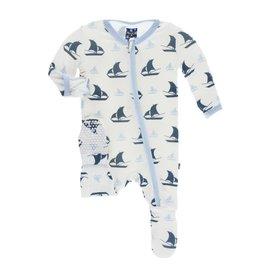 KicKee Pants KicKee Pants Footie With Zipper in Natural Sailboats