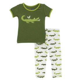 KicKee Pants KicKee Pants Short Sleeve Pajama Set in Natural Crocodile