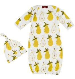 Milkbarn Milkbarn Newborn Gown & Hat Set - Pear - 0-3mo