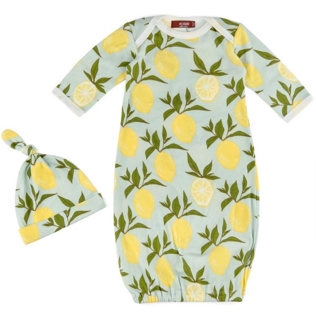 Milkbarn Newborn Gown & Hat Set - Lemon - 0-3mo - ZukaBaby