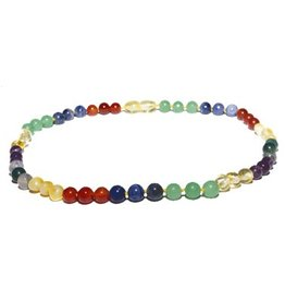 The Amber Monkey The Amber Monkey 12-13 in. Amber & Gemstone Necklace Rainbow