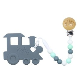glitter and spice Glitter & Spice Silicone Clip On Teether - Chew Chew Train