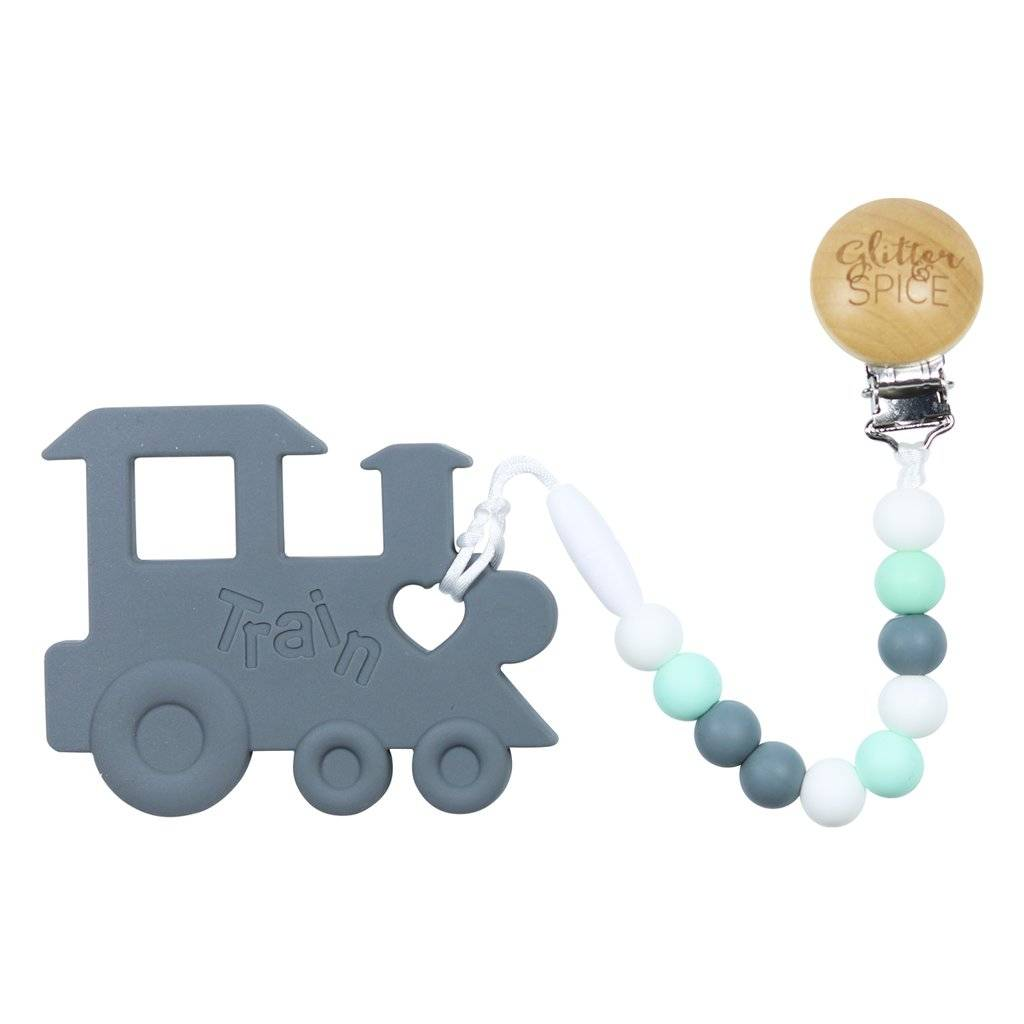 glitter and spice Glitter & Spice Silicone Clip On Teether - Chew Chew Train