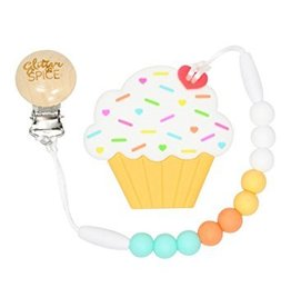 glitter and spice Glitter & Spice Silicone Clip On Teether - Cupcake