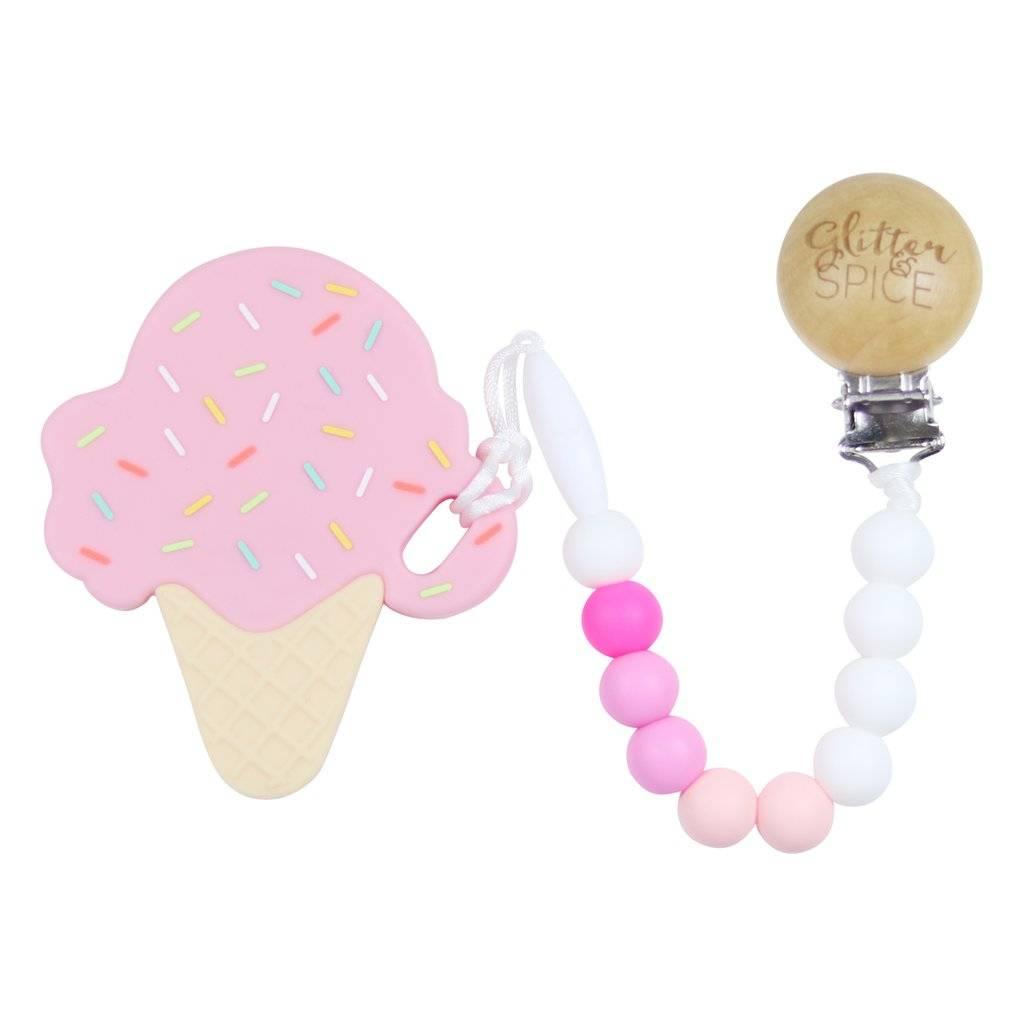 glitter and spice Glitter & Spice Silicone Clip On Teether Ice Cream Cone