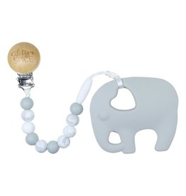 glitter and spice Glitter & Spice Silicone Clip On Teether - Elephant
