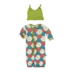 KicKee Pants KicKee Pants Layette Gown Converter & Hat Set - Tropical Flowers