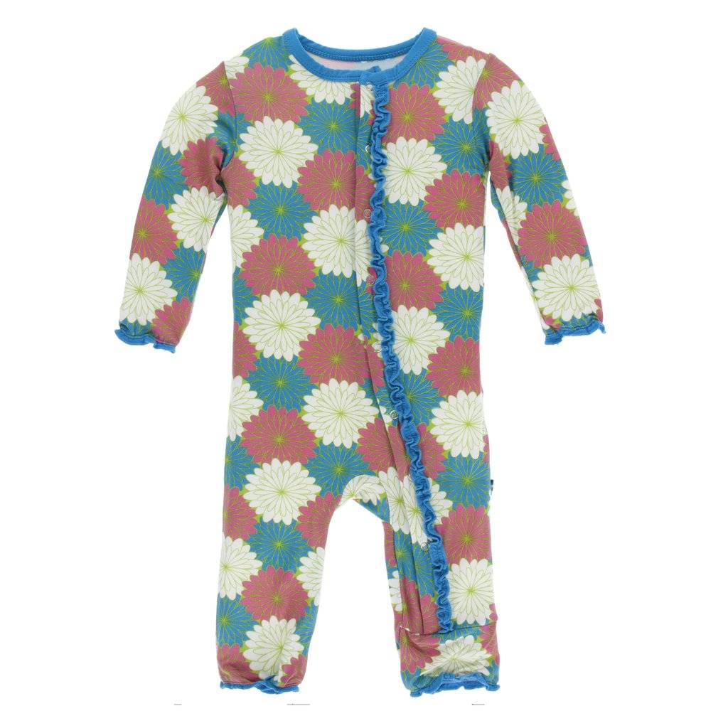 KicKee Pants KicKee Pants Muffin Ruffle Zipper Coverall - Tropical Flowers