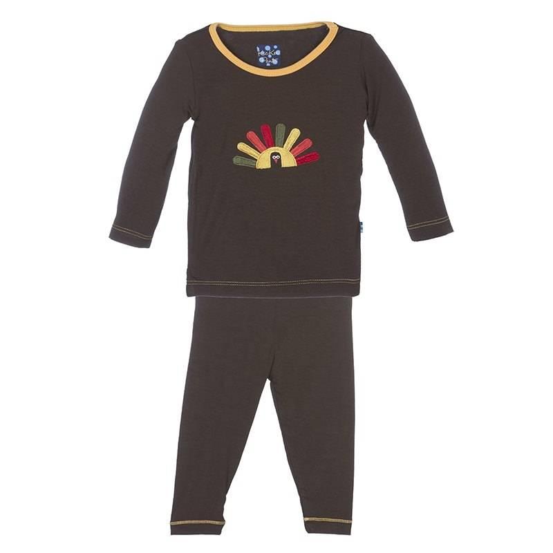 KicKee Pants KicKee Pants Long Sleeve PJ Set - Bark Turkey