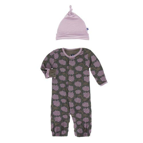 KicKee Pants KicKee Pants Layette Gown Converter & Knot Hat Set - African Violets