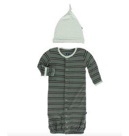 KicKee Pants KicKee Pants Layette Gown Converter & Knot Hat Set - Succulent Kenya Stripe