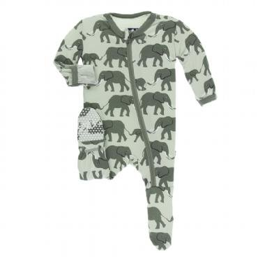 KicKee Pants KicKee Pants Zipper Footie - Aloe Elephants