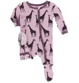 KicKee Pants KicKee Pants Zipper Muffin Ruffle Footie - Sweet Pea Giraffe