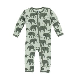 KicKee Pants KicKee Pants Zipper Coverall - Aloe Elephants