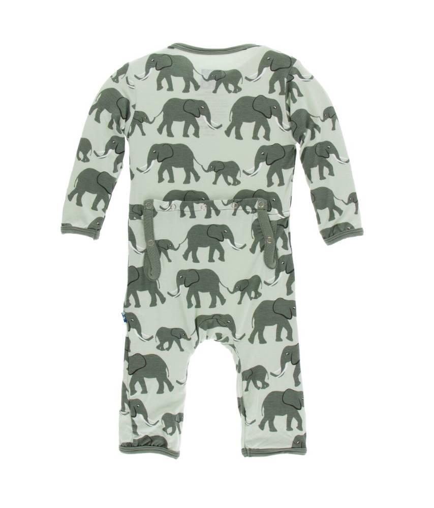 KicKee Pants KicKee Pants Zipper Coverall - Aloe Elephants