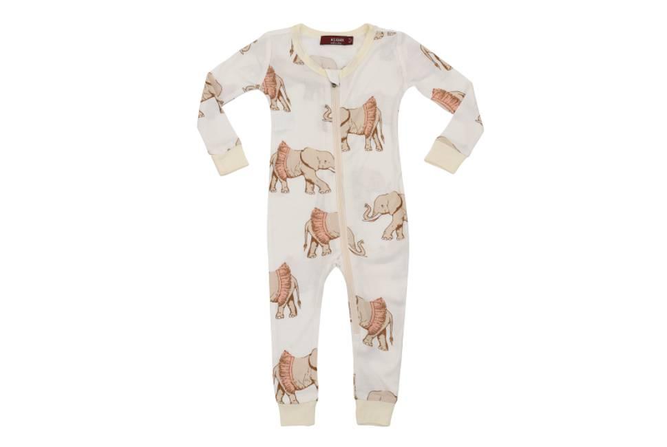 Milkbarn Milkbarn Bamboo Zipper Pajama - Tutu Elephant