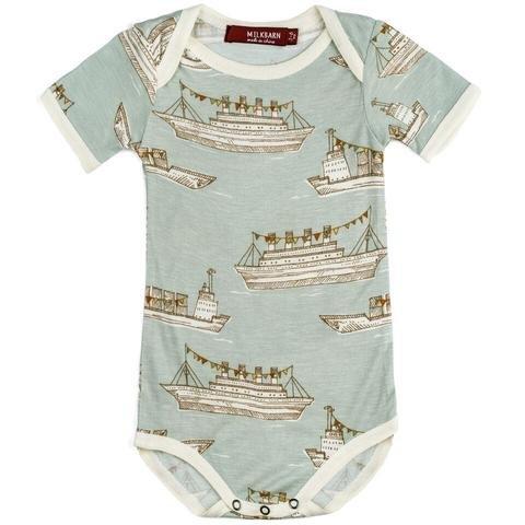 Milkbarn Milkbarn Bamboo Onesie - Blue Ships