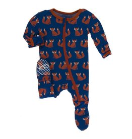 KicKee Pants KicKee Pants Print Footie with Zipper- Navy Fox
