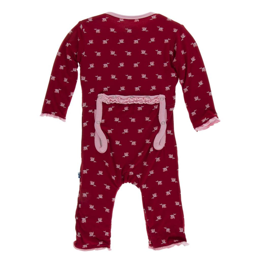 KicKee Pants KicKee Pants Print Muffin Ruffle Coverall with Zipper- Candy Apple Rose Bud