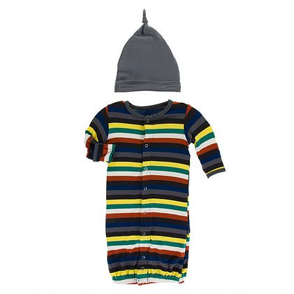 KicKee Pants KicKee Pants Layette Converter Gown & Knot Hat Set- Dark London Stripe