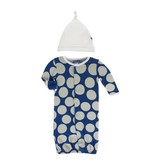 KicKee Pants KicKee Pants Layette Converter Gown & Knot Hat Set- Navy Mod Dot